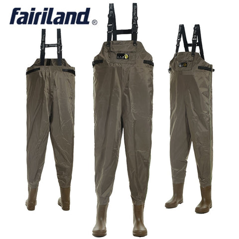 Fairiland Fishing waders with wading pants wading boots for fly fishing All in one chest wading gear adjustable shoulder strap