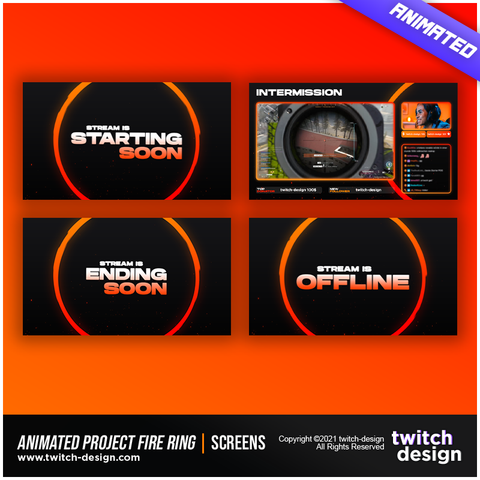 Animated Project Fire Ring Twitch Screens