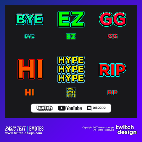 6-Pack Basic Text Twitch Subscriber Emotes Bundle