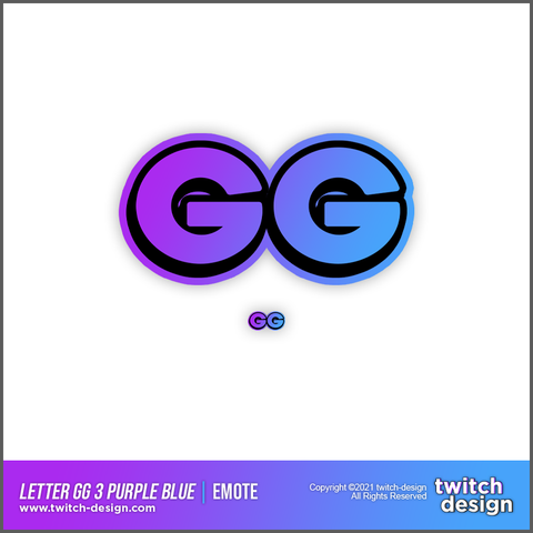 "Twitch Sub Emote ""GG"" 3 Purple Blue Edition"