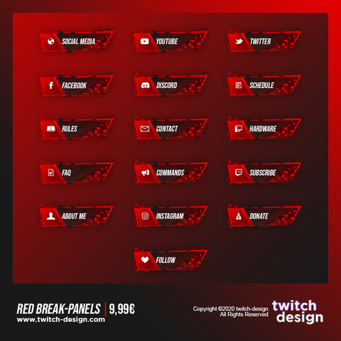 Red Break Twitch Panels.