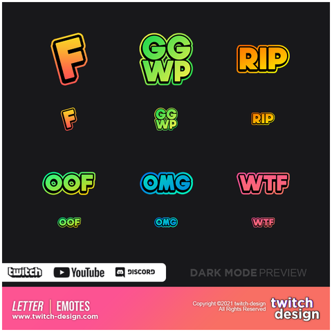6-Pack Letter Twitch Emotes Bundle