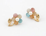 Anting Rhinestone Color Floral Ring - 2
