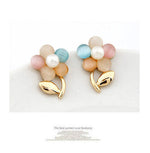 Anting Rhinestone Color Floral Ring - 1