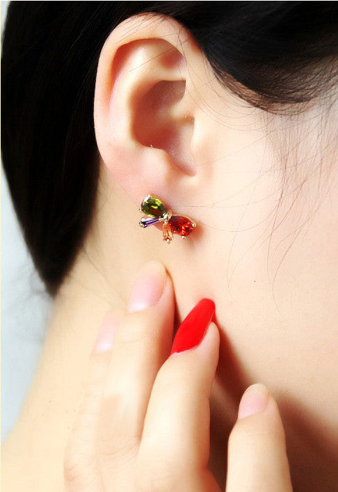 Anting Stylish Colorful Ribbon Earrings (18K Plated) - 1