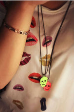 Kalung Trendy Light Skull Tengkorak Necklace (in stock: pink)