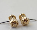 Gold Iron Nut & Bolt Earrings - 2