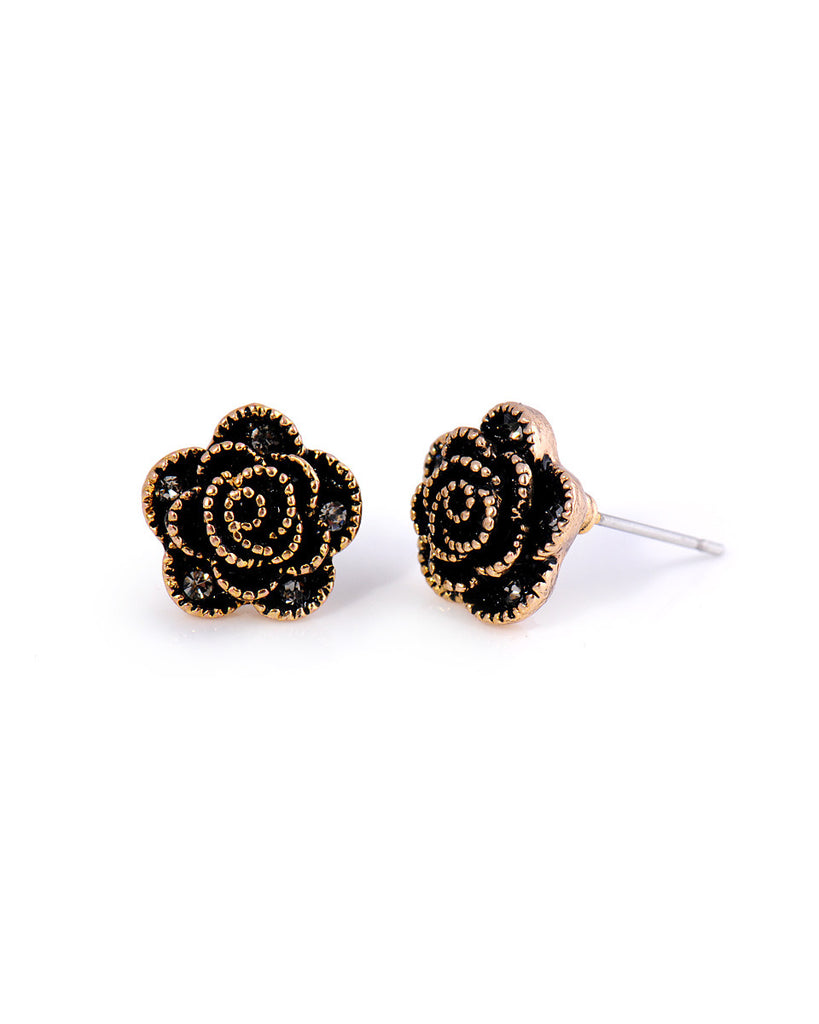Anting Black Rose Earrings - 18K Plated