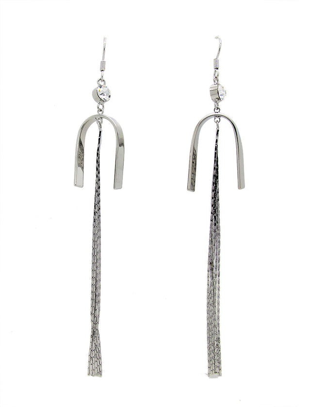 Trendy 18K White Gold Plated Tussle Earrings