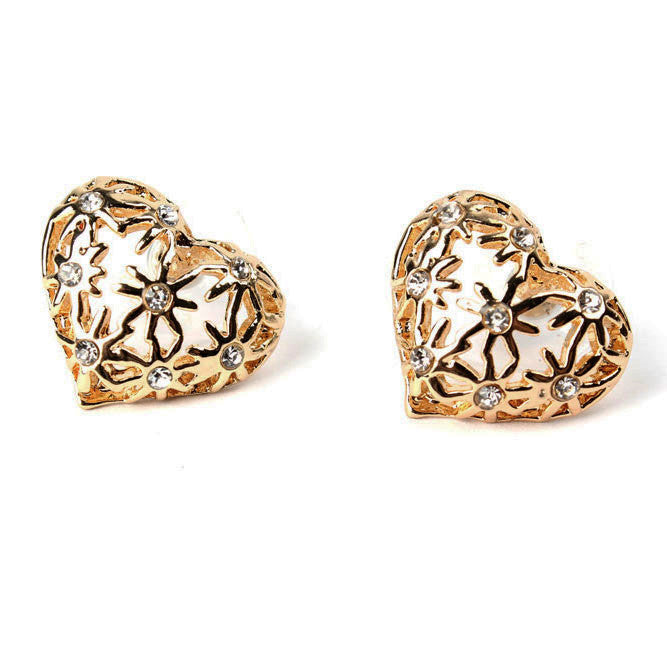 Anting Stylish Heart Real Gold Plated Earrings - 1