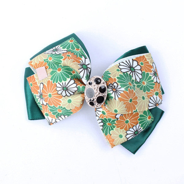 Flowery Green Ribbon HairClip