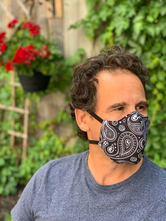 Black Paisley Large Mask