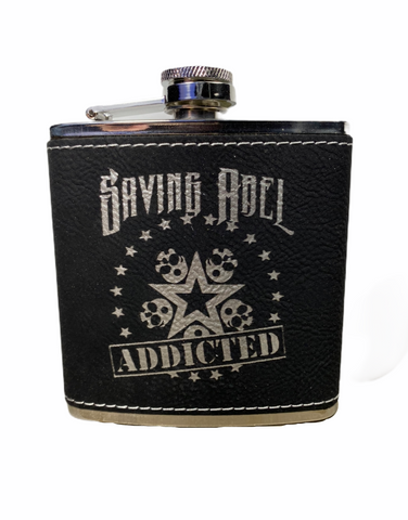 Addicted Black Leather Flask