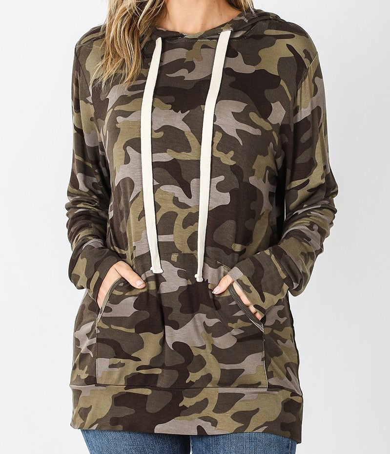 Camouflage Hoodie with Kangaroo Pocket - CeCe Fashion Boutique