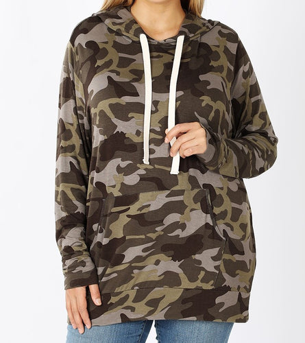 Camouflage Hoodie with Kangaroo Pockets (Plus Size) - CeCe Fashion Boutique