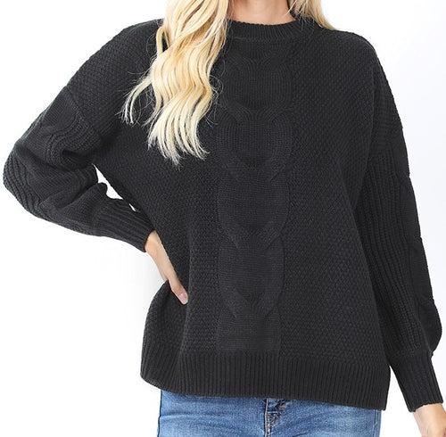 Cable Knit Balloon Sleeve Sweater (Black) - CeCe Fashion Boutique
