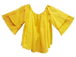"""Yellow"" Solid Cotton Top - CeCe Fashion Boutique"