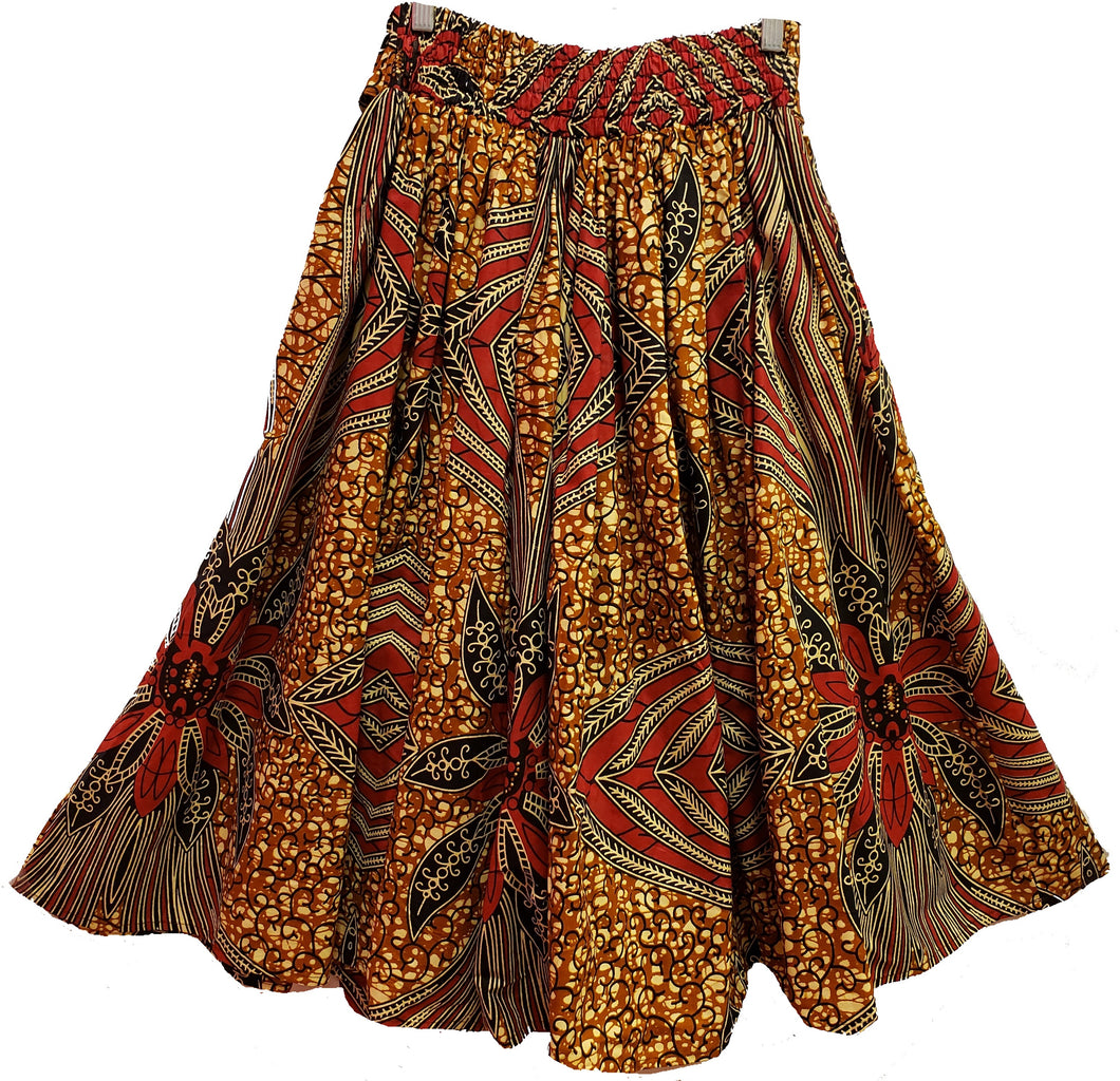 Midi Ankara Wax Cotton Skirt - Style XI - CeCe Fashion Boutique