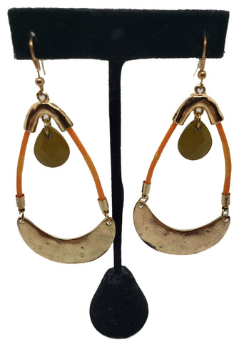 Boho Gold and Orange Ethnic Hammered Earrings - CeCe Fashion Boutique