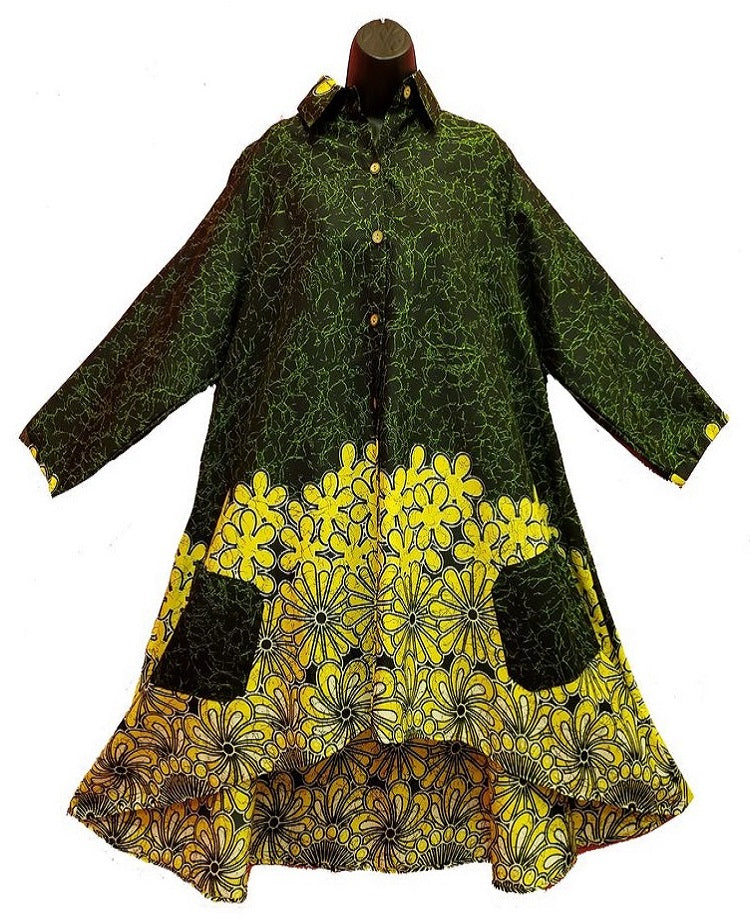 Tunic / Dress - Green With Floral Pattern - CeCe Fashion Boutique
