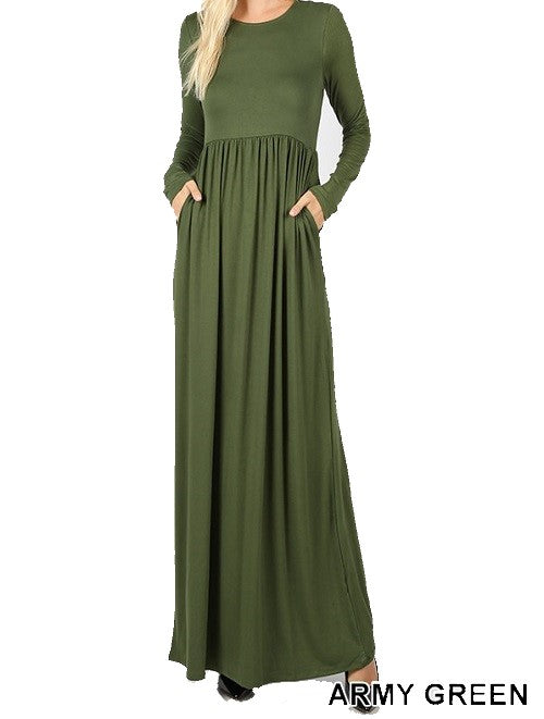 Long Sleeve Round Neck Maxi Dress - Army Green - CeCe Fashion Boutique