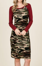Load image into Gallery viewer, Army Print Midi Dress (Burgundy) - CeCe Fashion Boutique