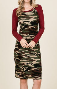 Army Print Midi Dress (Burgundy) - CeCe Fashion Boutique