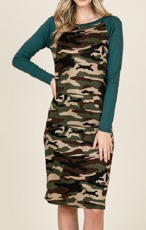 Army Print Midi Dress (Hunter Green) - CeCe Fashion Boutique