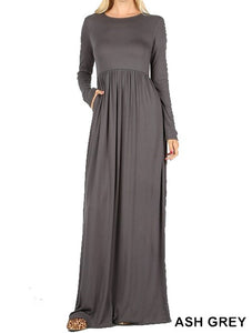 Long Sleeve Round Neck Maxi Dress - Ash Grey - CeCe Fashion Boutique
