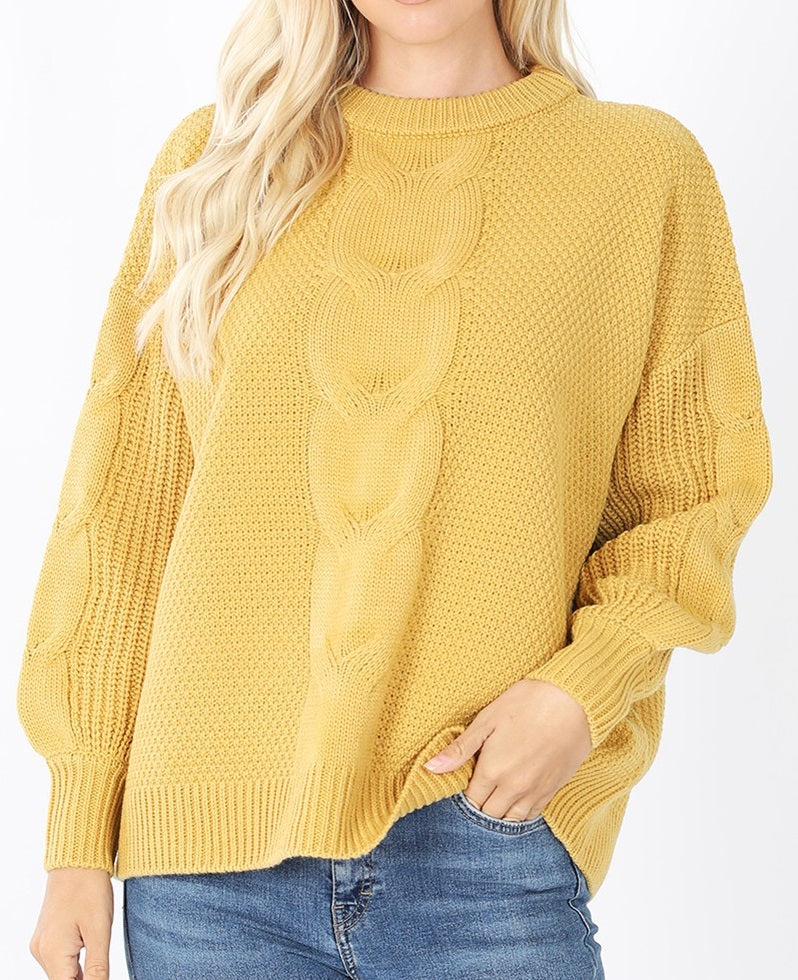 Cable Knit Balloon Sleeve Sweater (Yellow) - CeCe Fashion Boutique