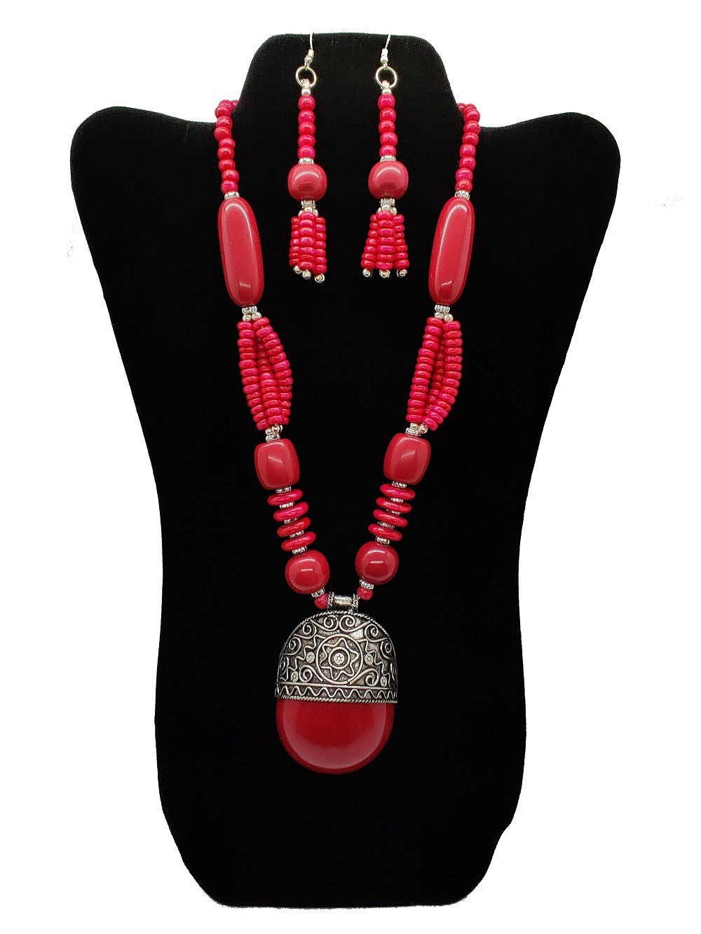 Burgundy Beaded Necklace and Earrings Set - CeCe Fashion Boutique