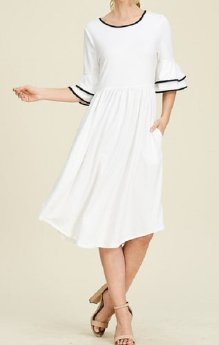 Bell Sleeve Midi Dress (White) - CeCe Fashion Boutique
