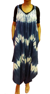 Jumpsuit with Pockets - Tie Dye Print (Blue) - CeCe Fashion Boutique