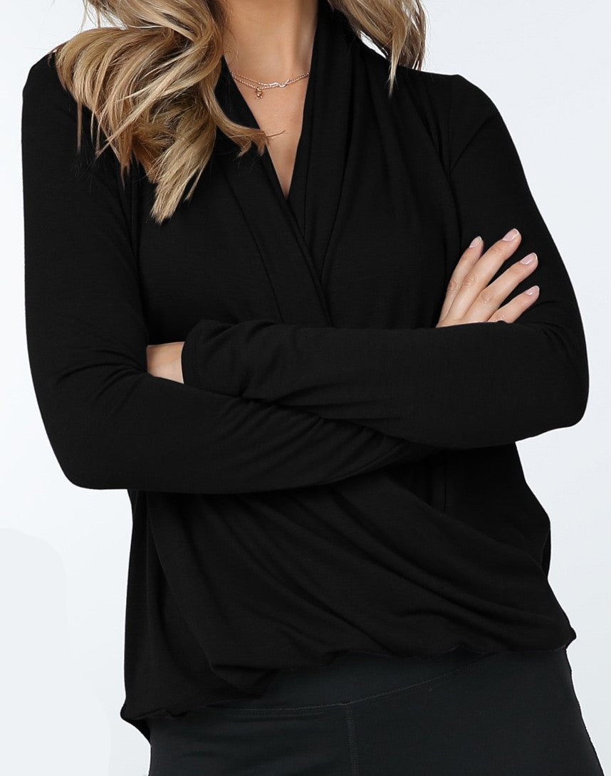 Long Sleeve Crossover Top (Black) - CeCe Fashion Boutique