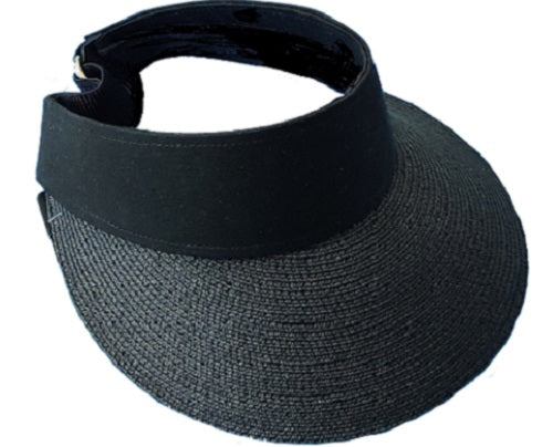 Visor Straw Hat - Black - CeCe Fashion Boutique
