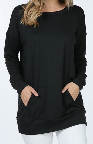 French Terry Long Sleeve Tunic Top (Black) - CeCe Fashion Boutique