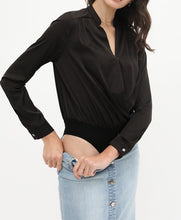 Load image into Gallery viewer, Bodysuit Wrap Shirt - Black - CeCe Fashion Boutique