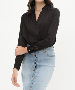 Bodysuit Wrap Shirt - Black - CeCe Fashion Boutique