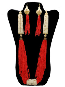 Multi-Strand Bright Red Necklace and Earrings Set - CeCe Fashion Boutique