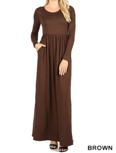 Long Sleeve Round Neck Maxi Dress - Brown - CeCe Fashion Boutique
