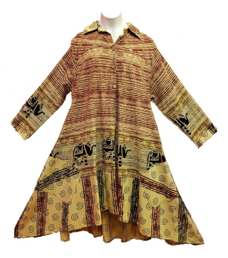 Tunic / Dress - Brush Print (Brick) - CeCe Fashion Boutique