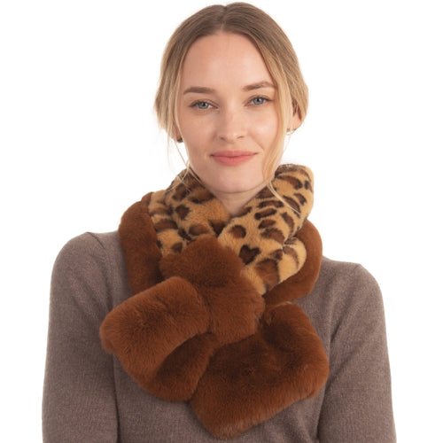 Leopard Pattern Faux Fur Slit Scarf - CeCe Fashion Boutique