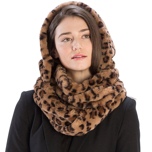 Faux Fur Hooded Infinity Scarf - Animal Print - CeCe Fashion Boutique