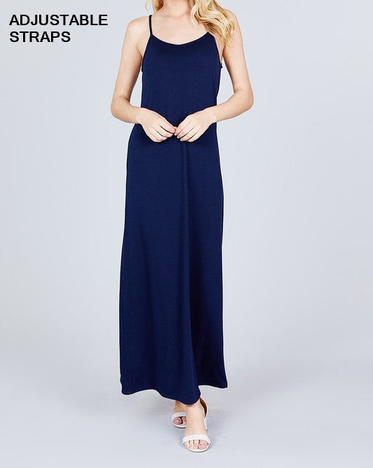 Cami Maxi Dress with Side Pockets - Navy - CeCe Fashion Boutique