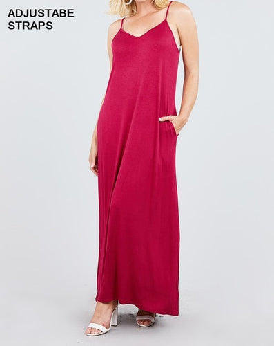 Cami Maxi Dress with Side Pockets - Magenta - CeCe Fashion Boutique