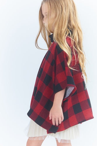 Mommy and Me Checkered Poncho (Kids) - CeCe Fashion Boutique