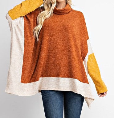 Oversized Poncho Style Turtle Neck Top - CeCe Fashion Boutique