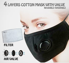 Load image into Gallery viewer, Cotton Mask with Valve and 1pc PM2.5 Filter - CeCe Fashion Boutique
