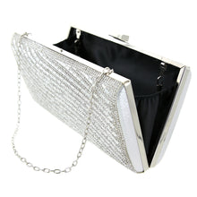 Load image into Gallery viewer, Crystal Embellished Silver Clutch (Wave) - CeCe Fashion Boutique