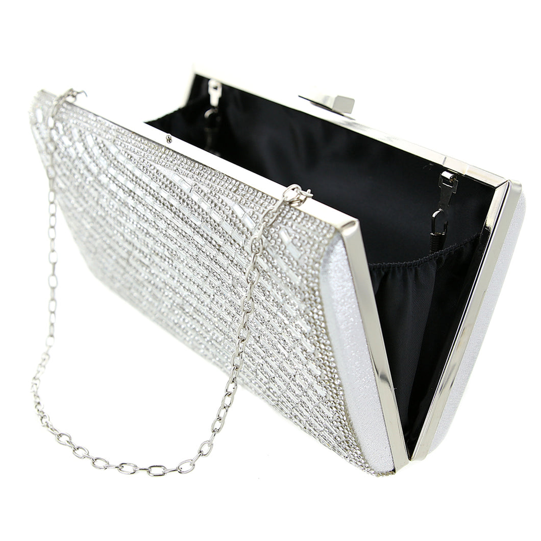 Crystal Embellished Silver Clutch (Wave) - CeCe Fashion Boutique